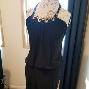 Cache drop waist halter dress w gold embellishment